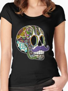 Mustache Sugar Skull (Color Version) Women's Fitted Scoop T-Shirt