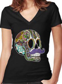 Mustache Sugar Skull (Color Version) Women's Fitted V-Neck T-Shirt