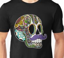 Mustache Sugar Skull (Color Version) Unisex T-Shirt