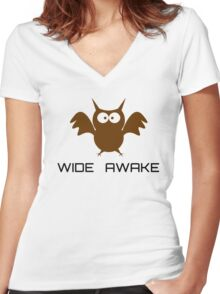 Cute Little Owl Night Life Wide Awake Katy Perry Audioslave Song Lyrics Women's Fitted V-Neck T-Shirt