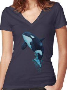 """""""The Matriarch"""" Killer Whale ~ Orca ~ J2 Granny ~ Watercolor Women's Fitted V-Neck T-Shirt"""