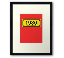 Made in the 1980s Number License Plate T-Shirt ~ Born in the Eighties Framed Print