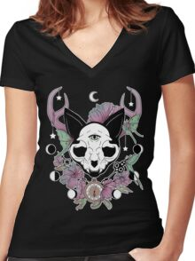 Twilight -- Skull Cat Women's Fitted V-Neck T-Shirt