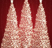 Christmas Gold Trees Red by Rewards4life