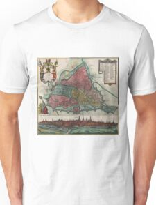 Vintage Map of Ghent Belgium (1780) Unisex T-Shirt