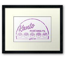 Purple Kanto Poké Ball Company on white Framed Print