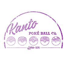 Purple Kanto Poké Ball Company on white Photographic Print
