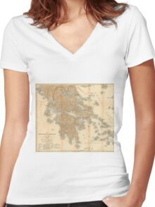 Vintage Map of Greece (1894) Women's Fitted V-Neck T-Shirt