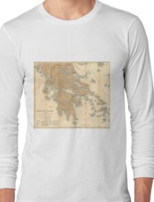 Vintage Map of Greece (1894) Long Sleeve T-Shirt