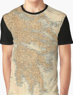 Vintage Map of Greece (1894) Graphic T-Shirt