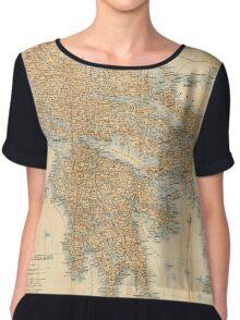 Vintage Map of Greece (1894) Chiffon Top