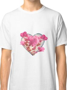 Heart Shaped with Flowers Digital Collage Classic T-Shirt