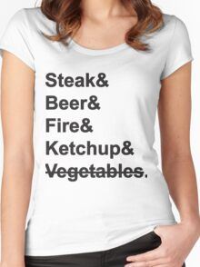Steak, Beer, Fire, Ketchup - no Vegetables Women's Fitted Scoop T-Shirt