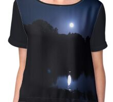 Dark Blue Night Chiffon Top