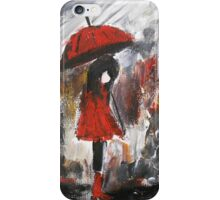 Girl In Red Raincoat Umbrella Rainy Day Acrylic Painting On Paper iPhone Case/Skin