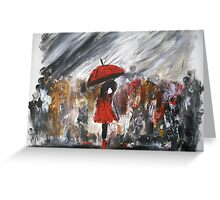 Girl In Red Raincoat Umbrella Rainy Day Acrylic Painting On Paper Greeting Card