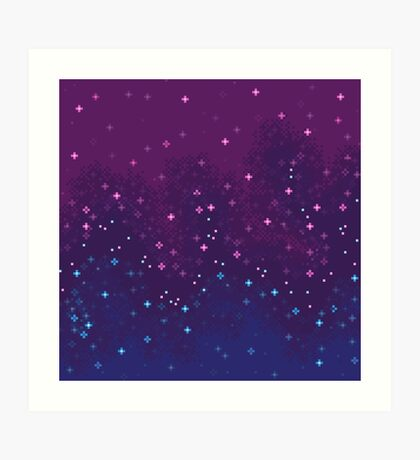 Bi Pride Flag Galaxy (8bit) Art Print