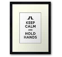 Keep Calm and Hold Hands (Otters holding hands) Black design Framed Print