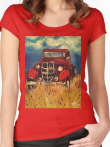 """Uncle John""""s Truck Red Old Farm Ranch  Women's Fitted Scoop T-Shirt"""
