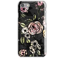 water color,floral,flower,pattern,black,pink,red,yellow,green iPhone Case/Skin
