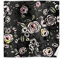 water color,floral,flower,pattern,black,pink,red,yellow,green Poster