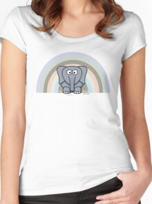 Cool Funny Cartoon Elephant Rainbow Cute Design Women's Fitted Scoop T-Shirt