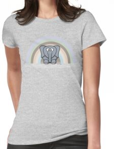 Cool Funny Cartoon Elephant Rainbow Cute Design Womens Fitted T-Shirt