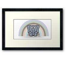 Cool Funny Cartoon Elephant Rainbow Cute Design Framed Print