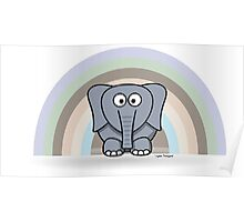 Cool Funny Cartoon Elephant Rainbow Cute Design Poster