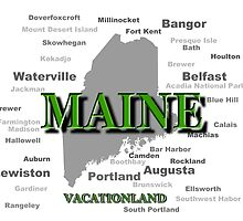 Maine State Pride Map Silhouette  by KWJphotoart