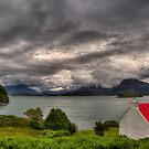 Red Roofed Cottage and Loch Shieldaig by derekbeattie