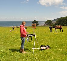 Sketching in oils from life, Porlock, Somerset by Laura Barber-Riley