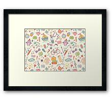 Cute traveling pattern Framed Print