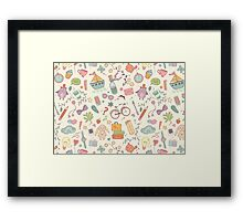 Cute traveling pattern Framed Print