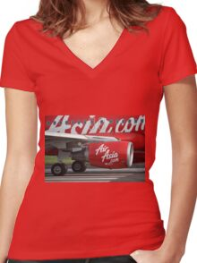 Air Asia airplane Women's Fitted V-Neck T-Shirt