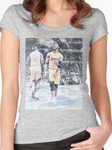 D'Angelo Russell Ice In My Veins Basketball Artwork Los Angeles Women's Fitted Scoop T-Shirt