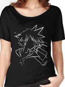 Sora/keyblade lineart white Women's Relaxed Fit T-Shirt