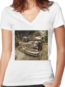 1948 Cadillac Limo Women's Fitted V-Neck T-Shirt