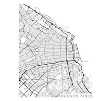 Buenos Aires Map, Argentina - Black and White Photographic Print