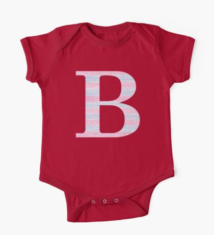 Letter B Blue And Pink Dots And Dashes Monogram Initial One Piece - Short Sleeve