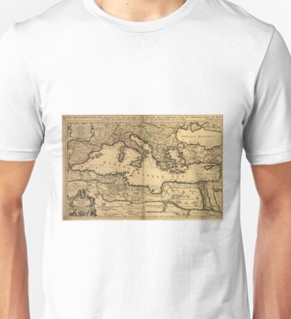Vintage Map of The Mediterranean Sea (1685) Unisex T-Shirt