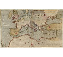 Vintage Map of Europe and The Mediterranean (1569) Photographic Print