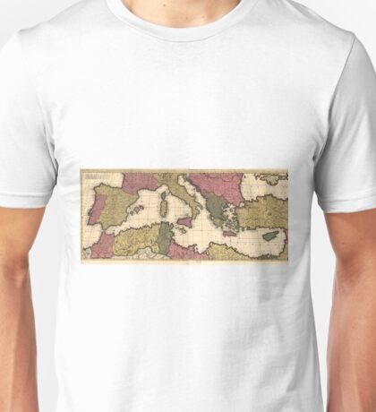 Vintage Map of The Mediterranean (1695) Unisex T-Shirt