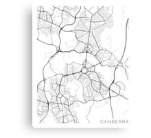 Canberra Map, Australia - Black and White Canvas Print
