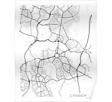 Canberra Map, Australia - Black and White Poster
