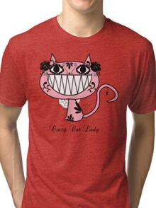 Cute Happy Pink Cartoon crazy Cat Lady  Tri-blend T-Shirt