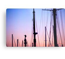 Christopher Columbus statue amid yacht masts Barcelona Catalonia Spain Metal Print