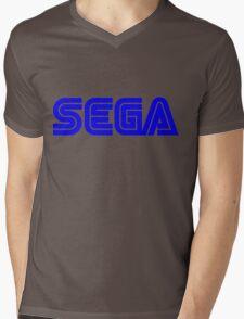 Blue Sega Logo Mens V-Neck T-Shirt
