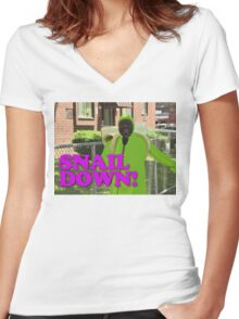 SNAIL DOWN Women's Fitted V-Neck T-Shirt