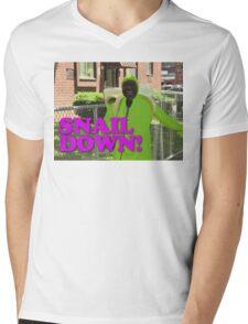 SNAIL DOWN Mens V-Neck T-Shirt